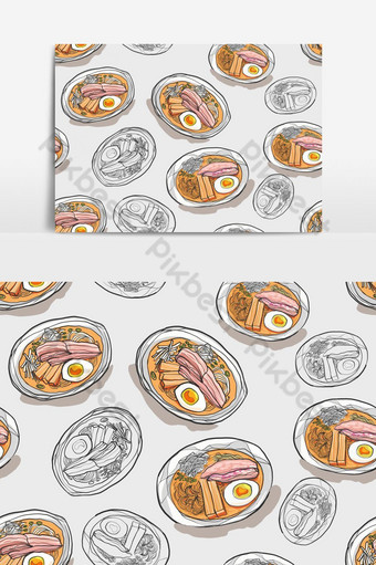 hand drawn ramen noodle with seamless pattern Backgrounds Template EPS
