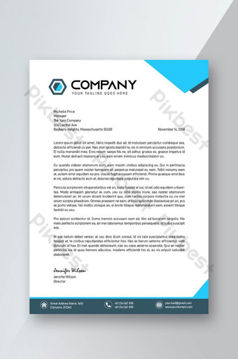 Modèle de couverture de papier à en-tête bleu corporatif et élégant Modèle PSD