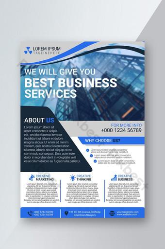 folheto de negócios criativo com listras em azul Modelo PSD