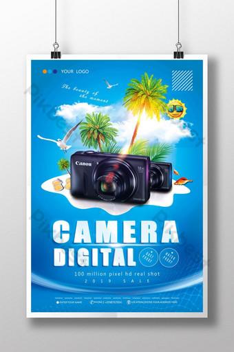 pôster de produto de tecnologia de câmera digital Modelo PSD