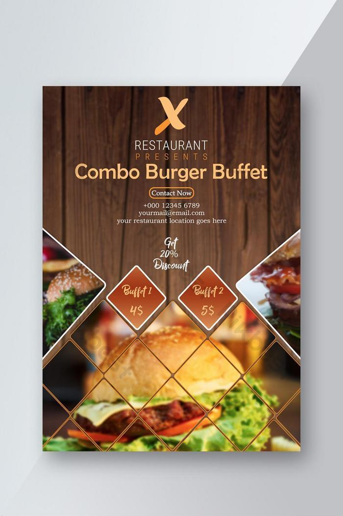 hamburger nhà hàng tờ rơi thức ăn