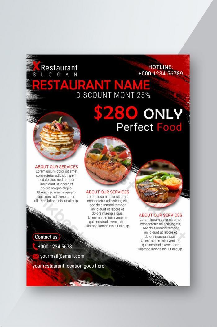 panfleto de comida de restaurante