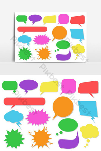 Set of colorful speech bubbles - Vector illustration PNG Images Template AI