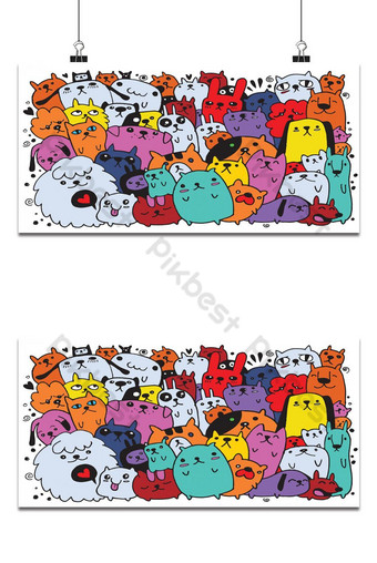 hand drawn doodle Funny Dogs Set, Vector illustration. 1 Backgrounds Template AI