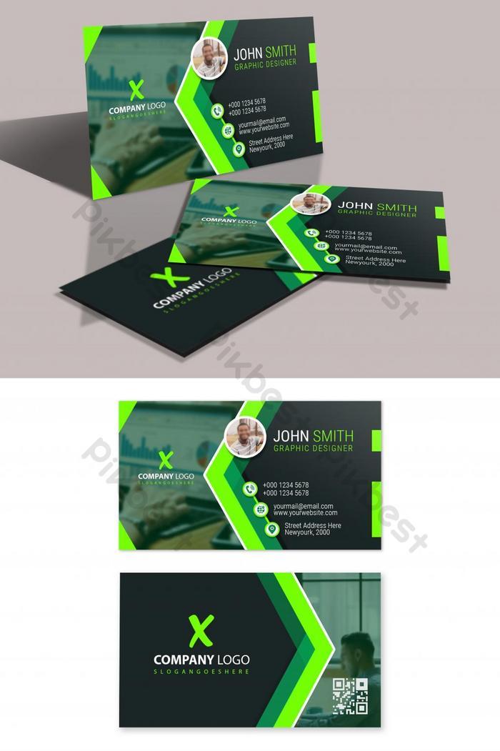 현대 녹색 자연 명함