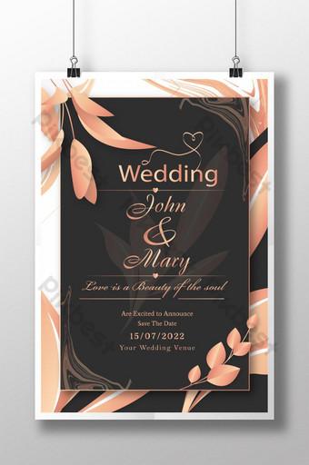 Affiche élégante de style d'invitation de mariage Modèle AI