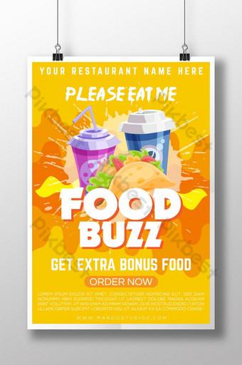 食物嗡嗡聲創意看海報 模板 AI