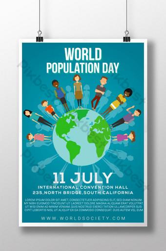 현대 다채로운 세계 인구의 날 포스터 템플릿 AI