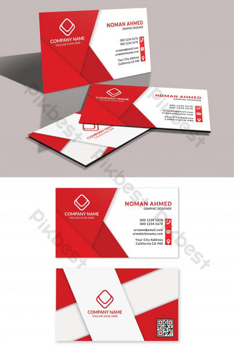 Conception de carte de visite rouge d'entreprise Modèle PSD