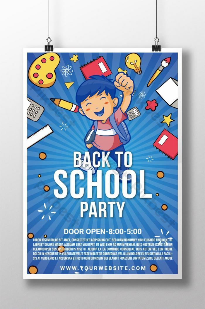 poster pesta kembali ke sekolah yang bergaya