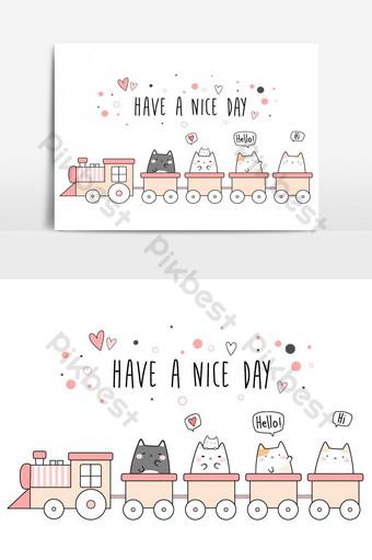 Mignon adorable chat potelé chaton équitation train dessin animé doodle bannière de couverture de papier peint Éléments graphiques Modèle AI
