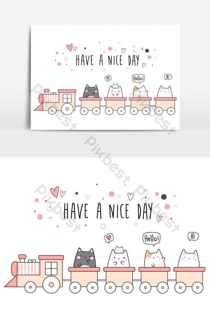 น่ารักน่ารักแมวอ้วนลูกแมวขี่รถไฟการ์ตูนเส้นขยุกขยิกวอลล์เปเปอร์ปกแบนเนอร์