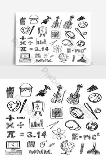 conjunto, de, escuela, icono, dibujo a mano alzada Elementos graficos Modelo EPS