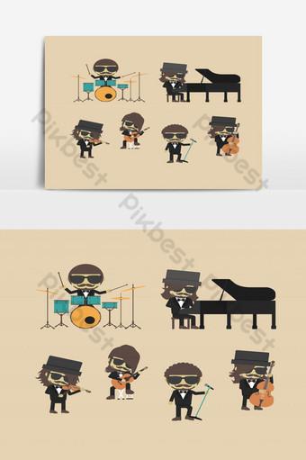 拔下音樂樂隊時髦音樂家 元素 模板 EPS