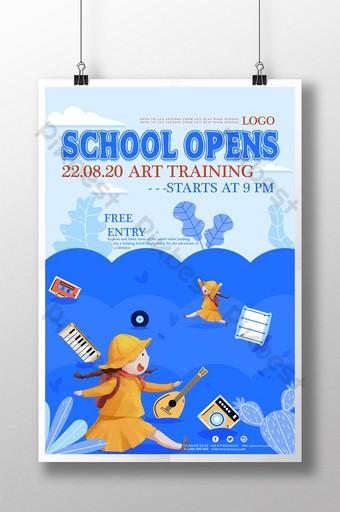 cartel de la temporada escolar de dibujos animados frescos azules Modelo PSD