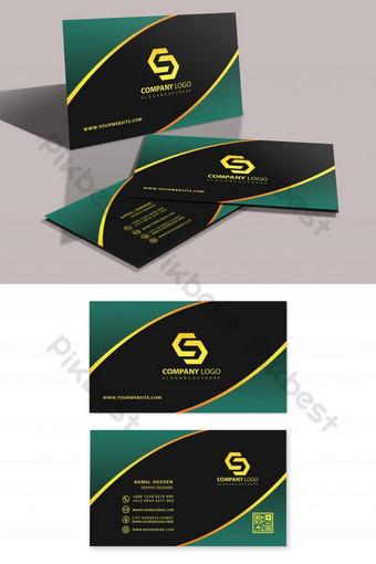 Templat kartu bisnis hijau dan mewah profesional Templat PSD