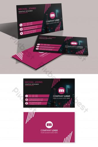 Carte de visite rose avec espace réservé pour l'image Modèle PSD