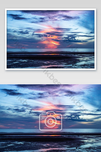 The morning sun light in the sea. Photo Template JPG