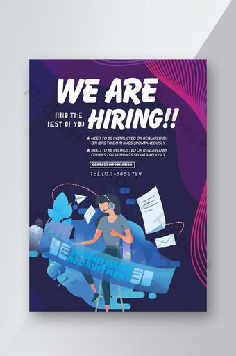 Sci-tech style enterprise recruitment flyer Template PSD