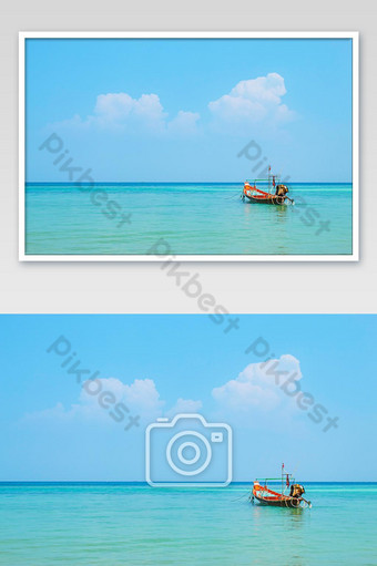 Fishing boats moored in the sea and the beauty of the sky in summer at Haad salad , koh Ph Photo Template JPG
