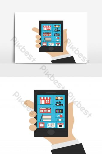 Conexión de comunicación de beneficios de smartphone s aislado sobre fondo blanco. Elementos graficos Modelo EPS