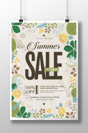 diseño de cartel de venta de descuento de promoción de verano retro Modelo PSD