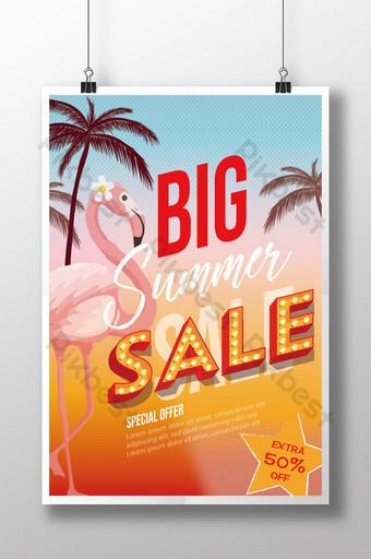 Flamingo Gradient Summer Sale Poster Template AI