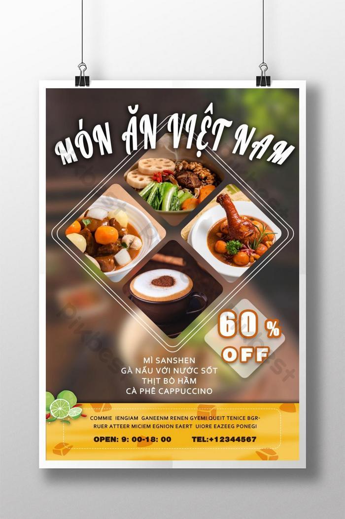 poster giảm giá bộ sưu tập đồ ăn ngon của việt nam sôi động