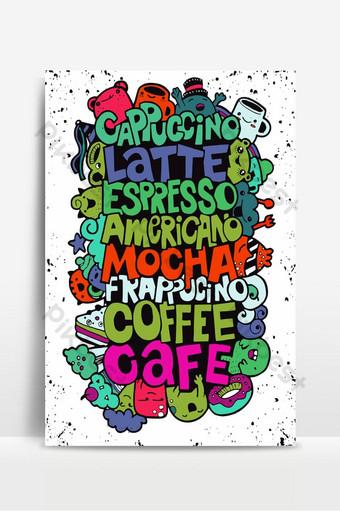 Vẽ tay tên đồ uống cà phê phổ biến với những con quái vật dễ thương Minh họa vector 2 Nền Bản mẫu EPS
