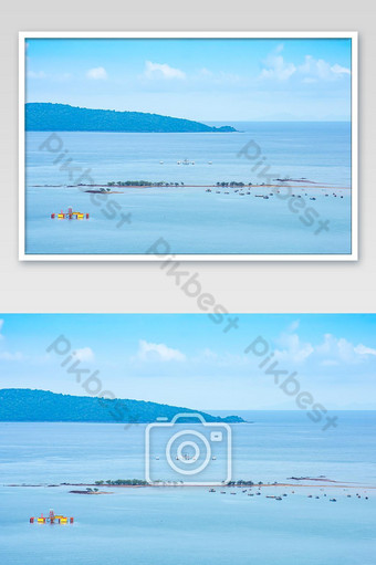 Fishing boats parked on the sea at Laem thian beach in Chumphon ,Thailand. Photo Template JPG