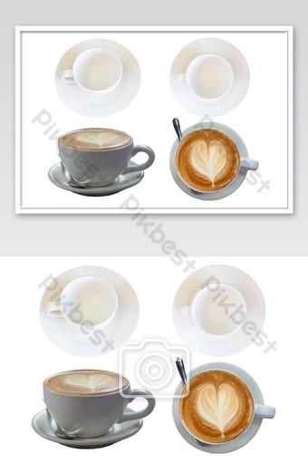 منظر علوي للكوب وقهوة إسبرسو ساخنة مغطاة بحليب على شكل قلب على قطعة بيضاء ب التصوير قالب JPG