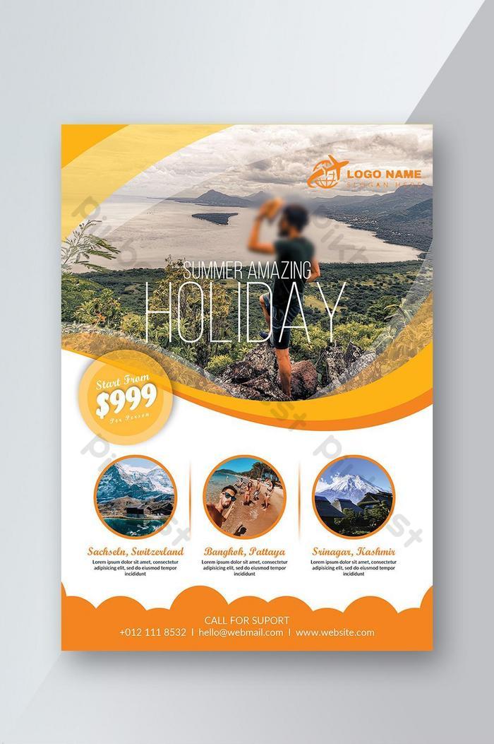 Оранжевый шаблон туристического флаера