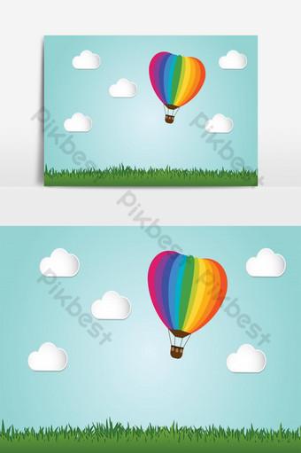 Origami fait voler le ballon à air chaud coloré au-dessus du style d'art de papier d'herbe Éléments graphiques Modèle EPS