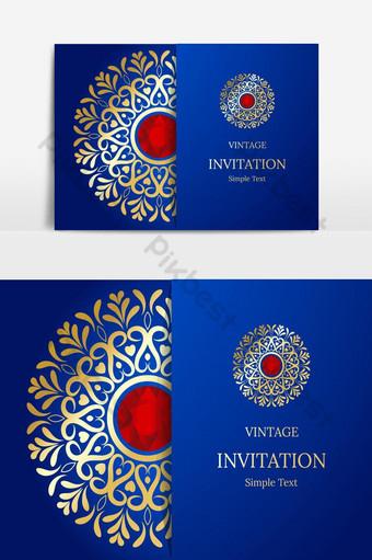 Conception élégante de cartes Save The Date Modèle de carte d'invitation floral vintage Mandala Flower Éléments graphiques Modèle EPS