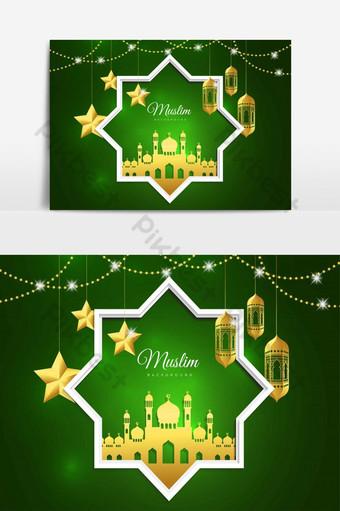 التوضيح النواقل من عيد مبارك تصميم بطاقة المعايدة الإسلامية العيد صور PNG قالب EPS