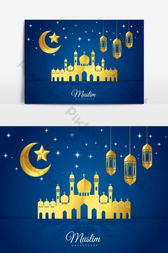 Illustration vectorielle de conception de cartes de voeux de vacances islamiques Eid Mubarak Éléments graphiques Modèle EPS