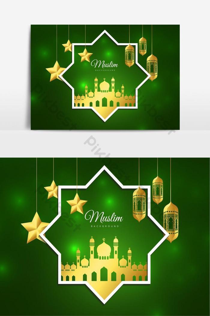 ilustrasi vektor desain kartu ucapan liburan islamic idul fitri