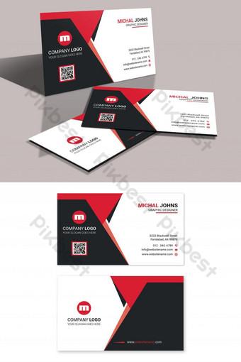 Carte de visite entreprise rouge noir Modèle PSD