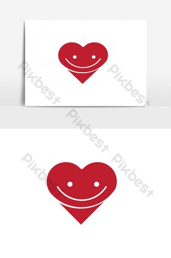 elemento gráfico de vector de logotipo de corazón sonriente Elementos graficos Modelo AI