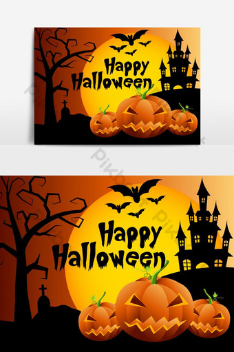 Halloween pumpkins and dark castle on background,Happy Halloween message design PNG Images Template EPS