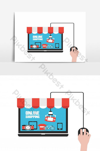 choose product in online shop, isolated on white background PNG Images Template EPS