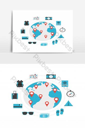 Conjunto de icono de viajes mundiales aislado sobre fondo blanco. Elementos graficos Modelo EPS
