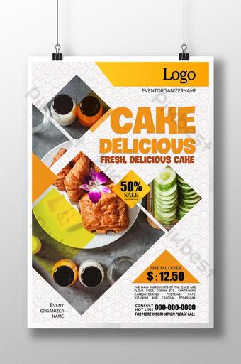 cartel de comida de etiqueta geométrica fresca simple Modelo PSD
