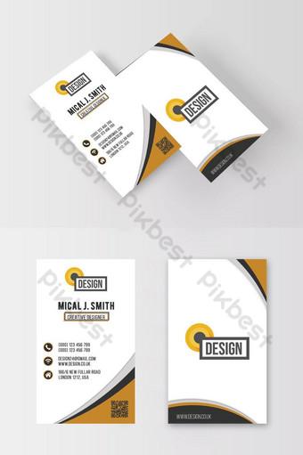 Carte de visite corporative blanche et jaune Modèle PSD