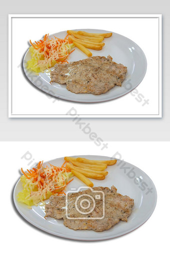 Isolated Pork steak with French fries and salad on a white background with clipping path. Photo Template JPG