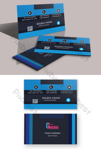 Carte de visite de style rayé de couleur bleue Modèle PSD