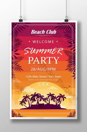 cartel de fiesta de verano del club de playa Modelo AI