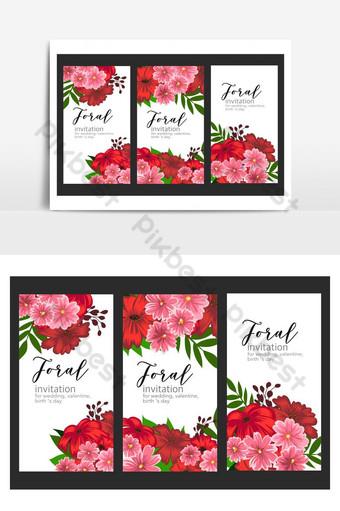 Ensemble de fleurs de carte de mariage Éléments graphiques Modèle PSD