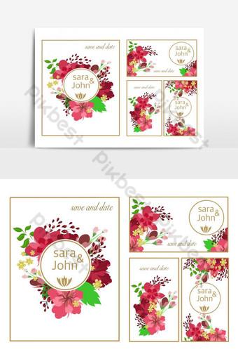 Ensemble de fleurs florales de carte de mariage Éléments graphiques Modèle PSD