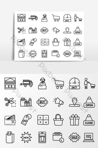 compras vector icono lineal conjunto vector elemento gráfico Elementos graficos Modelo AI